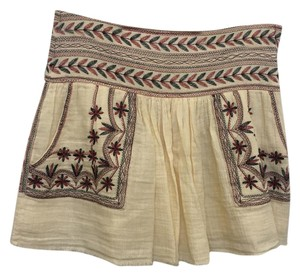 toile Isabel Marant Mini Embroidered Skirt Cream