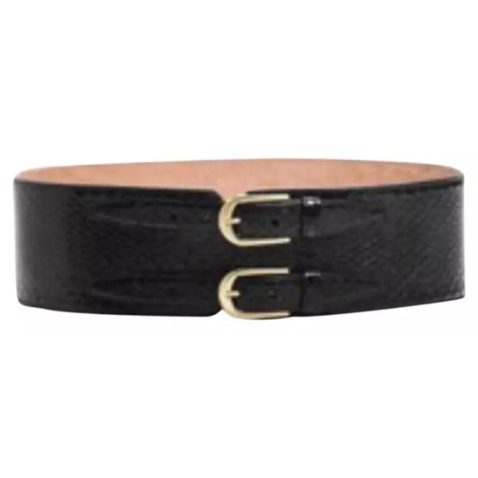 041e9a3d9 Tamara Mellon Black New Double Buckle Crocodile Leather Wide Belt ...