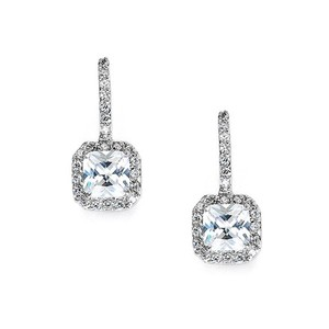 Radiant Cut Crystal Drop Bridal Earrings