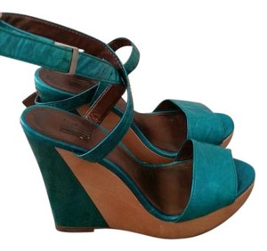 Pelle Moda Turquoise Strappy Ankle Strap turquoise, natural Wedges