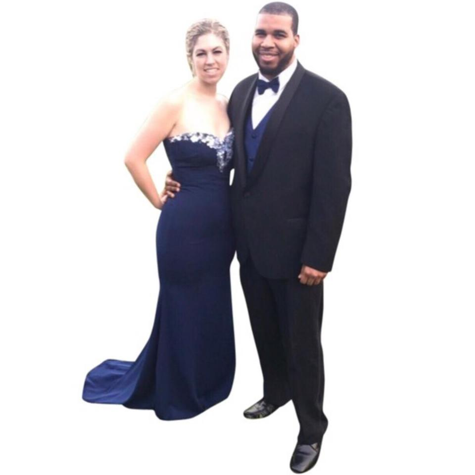 Badgley Mischka Navy Strapless Beaded-bodice Crepe Gown Long Formal ...