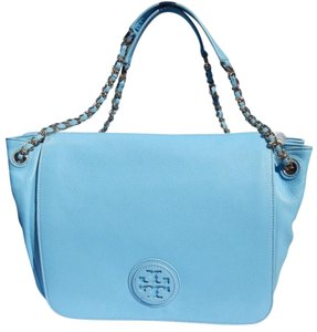 Tory Burch Leather Chain Blue Shoulder Bag