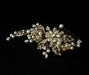 Elegance by Carbonneau Gold Ivory Pearl Crystal Couture Comb 1643 Hair Accessory