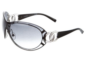 Chanel Black Chanel silver-tone Interlocking CC shield sunglasses