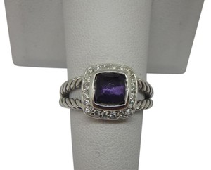 David Yurman size 7 W/ Pouch Albion Petite Ring Black Orchid With Pave Diamonds