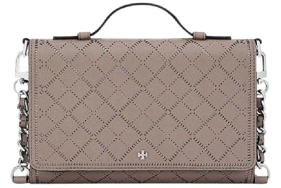 af5ec8e37fde Tory Burch Robinson Crosshatch Mini Wallet Passport French Gray New ...