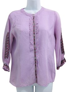 Johnny Was Embroidered Top purple