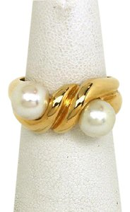 BVLGARI Bulgari Akoya Pearls & 18k Yellow Gold Twist Design Ring Size 6