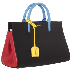 Saint Laurent Color-blocking Ysl Gold Satchel in yellow blue red black