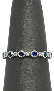 Other 14K White Gold Bezel Set Natural Diamond and Sapphire Ring/ Stackable