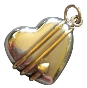 Tiffany & Co. Retired Tiffany & Co Sterling Silver Heart with 18kt Gold Arrow Charm