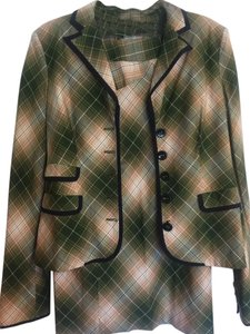 L.A.M.B. L.A.M.B. 2pc Green & Beige Plaid Blazer & Pencil Skirt Suit Size 10/14