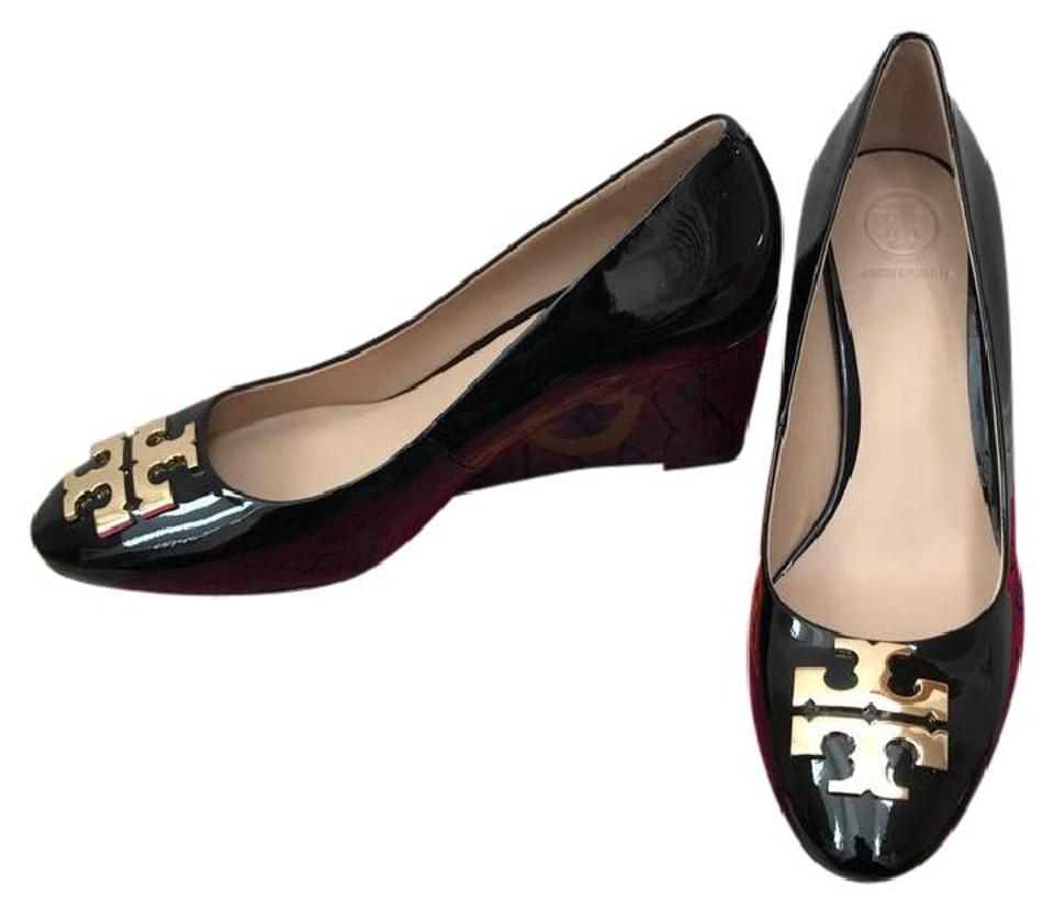 743c5762592f3 Tory Burch Black Raleigh 70mm Patent Leather Wedges. Size  US 9.5 ...