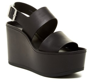 Vince Wedges Sandal Leather Black Platforms