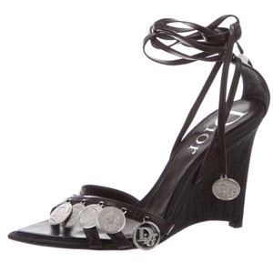 Dior Strappy Diorissimo Charm Silver Hardware Embellished Black, Silver Sandals