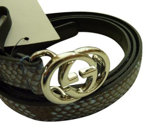 727e07545 Gucci NWT Ladie's GUCCI Python Exotic Belt 370552 Mineral Blue GG