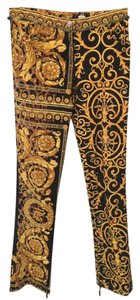 Versace Gianni Vintage Gold Couture Runway Straight Leg Jeans