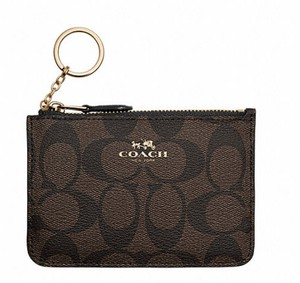 Coach Coach Brown Signature PVC Canvas Key Coin Pouch Wallet Case 63923