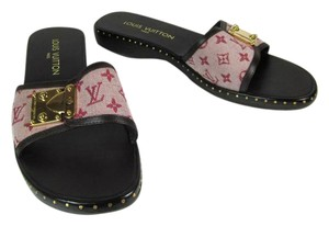 Louis Vuitton Brown Leather Flat Red Logo Sandals