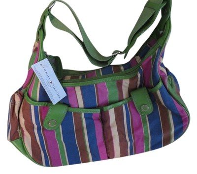 tommy hilfiger new with tags medium size multi colored striped diaper bag canvas hobo with. Black Bedroom Furniture Sets. Home Design Ideas