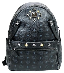 MCM Leather Studs Silver Backpack