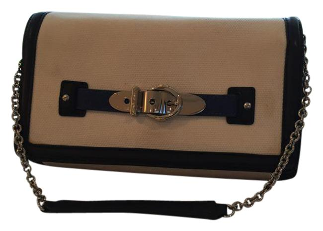 Item - Convertible Clutch/Shoulder Beg White Navy Royal Blue Textured Fabric with Leather Trim Clutch