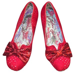 Irregular Choice red with lace heart detail and sparkle bow as seen on Pinterest Pumps