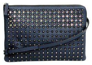 MCM Studs Crystal Leather Clutch Cross Body Bag