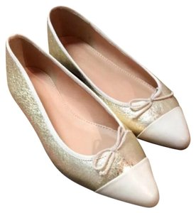 J.Crew Geniune Leather Pale Gold Flats