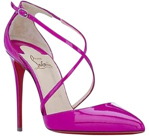Christian Louboutin Heels Cross Blake Patent Leather Crisscross Strap Indian Rose Sandals