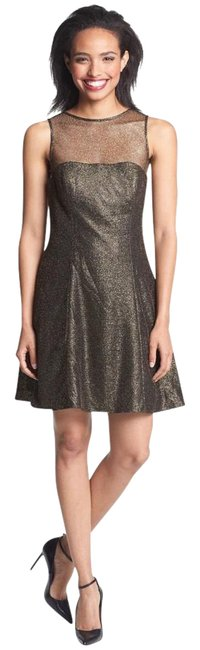 Aidan by Aidan Mattox Black/ Gold Metallic Skater Short Casual Dress Size 2 (XS) Aidan by Aidan Mattox Black/ Gold Metallic Skater Short Casual Dress Size 2 (XS) Image 1