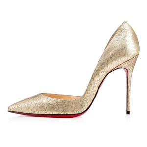 Christian Louboutin Heels Iriza D'orsay Patent Leather Platinum Gold Pumps