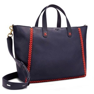Tory Burch Whipstitch Nwt Leather Tote in Navy