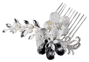 Elegance By Carbonneau Silver Ivory Pearl Comb 4013