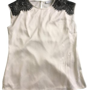 New York & Company Top white with black lace