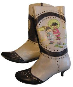 Irregular Choice China Doll Runway Geisha Asian Cream Boots