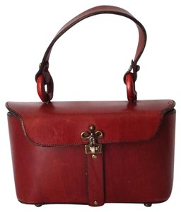 Etienne Aigner Lunch Box Leather Oxblood Brass Hardware Baguette