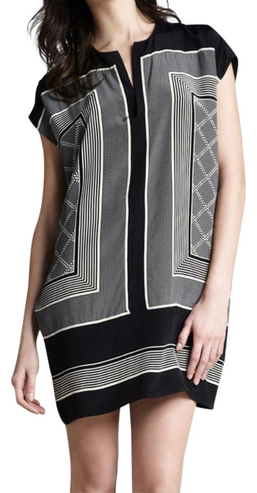 4d6311f2cb40f Vince Black and Cream Scarf-print Tunic Short Casual Dress Size 2 ...