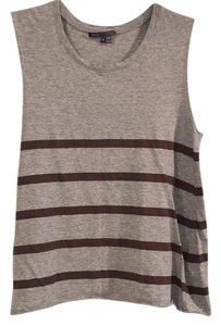 Vince Top heathered grey/brown stripes
