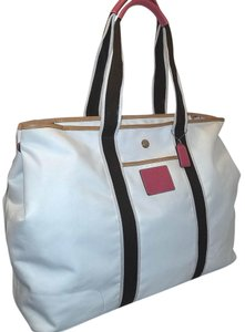 Coach Refurbished Extra-large Nylon + Leather Diaper Tote in Cream, Brown and Pink