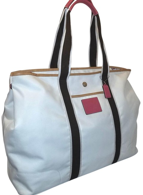Item - Extra-large + + Leather Diaper Cream Brown and Pink Nylon Tote
