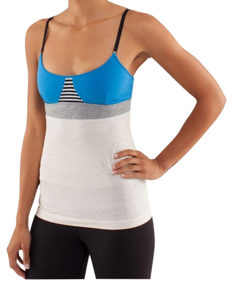 e7518d3d30fa0 Lululemon Grey Blue Black and White Contentment Triangle Activewear Top.  Size  4 ...