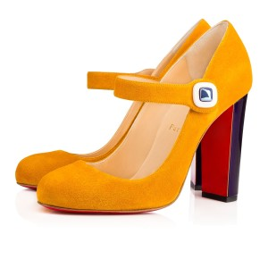 Christian Louboutin Bibaba Mary Jane Suede Yellow Pumps