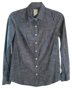 J.Crew The Perfect Shirt Polka Dots Size 0 Button Down Shirt Blue