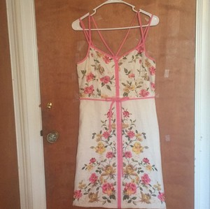 Ann Taylor LOFT short dress white with pink, yellow and green flowers and pink piping on Tradesy