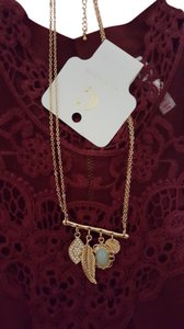 Charming Charlie Gold Tone Collar Necklace with Multiple Pendants