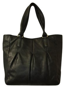Cole Haan Leather Pleated Pebbled Tote in Black