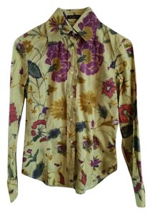 Etro Flowers Button Down Shirt Green, purple, blue, gold, red