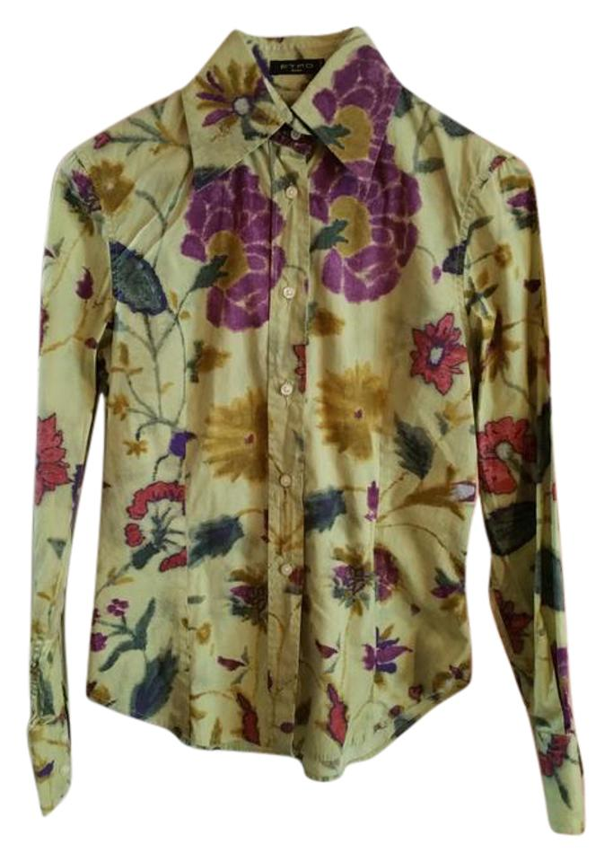 244ad7d23d701 Etro Green Purple Blue Gold Red Blouse Floral Print Light Olive ...
