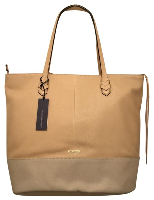 Item - New Canvas Beige White Leather Tote